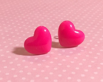 Bright Pink Heart Studs, Surgical Steel Posts, Sensitive Ears, Valentine's Day Earrings (SE10)