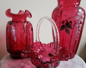 3 piece hand painted cranberry set