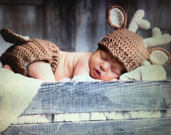 Deer Hat and Diaper Cover Crochet Set - Boy or Girl