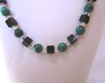 Shady Green Necklace - Striped Malachite Rounds and Black Obsidian Cubes - Elegant, Prom, Formal, Holiday, Christmas, SRAJD, OOAK