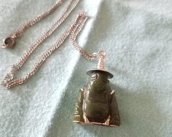 Vintage carved Buddah Jade Pendant with silver rice hat, stamped SILVER on bottom