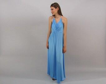 70s Halter Disco Dress / Vintage Maxi Dress / Liquid Jersey Halter Dress / Boho Dress Δ size: sm