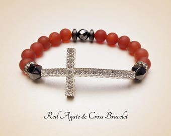Sideways Cross Bracelet . Red Agate Bracelet. Catholic Bracelet. Red Bracelet. Cross Bracelet. Religious Bracelet. Religious Gift. #HP1