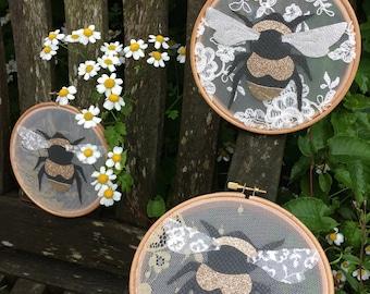 Bumble Bee Hoop Wall Hanging