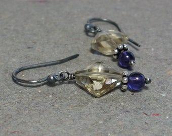 Citrine, Amethyst Earrings November February Birthstone Oxidized Sterling Silver Gift for Mom