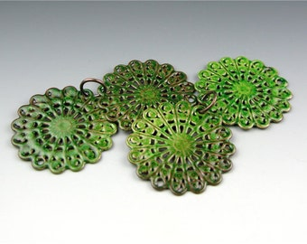 Enameled Round Filigree / Peacock Green Enamel / Made to order