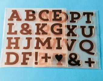 Craft Clear Rubber Extra Large Alphabet Stamps, Cardmaking 4cm Clear Stamp Set, Handmade Card Rubber Stamps, Scrapbook Clear Stamps CS056B