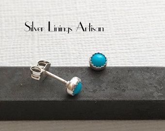 Turquoise studs, 4 mm sleeping beauty cabochons handset in fine silver with sterling silver posts and backs.