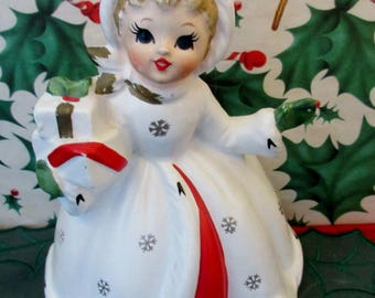 Vintage 1950s Napco Christmas Angel Shopper  Planter  Figurine  holding  Presents.