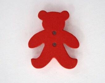 20mm x 10 bear wooden button: Red - 001879