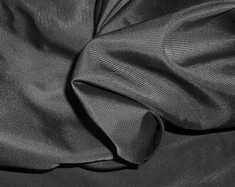 """Vintage BLACK SILK FAILLE-Fabric 8 Yards x 45""""-New-Unused-for Decor or Clothing"""