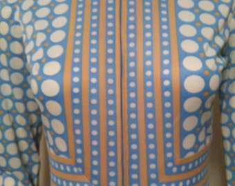 Vintage Blue and White Polka Dot Long Sleeve Dress