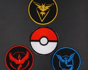 A Set 4pcs Pokemon Go Team Pokeball Patch Inspired Team Instinct Mystic Valor Patches Animation  Iron on Patches
