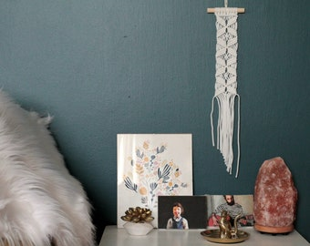 Small Macrame Wall Hanging in White. Bohemian Wall Art.