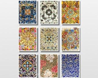 Barcelona print, Wall art prints, Set of 9 prints, Spanish tiles, Gaudi, Gallery wall prints, Fine Art photography