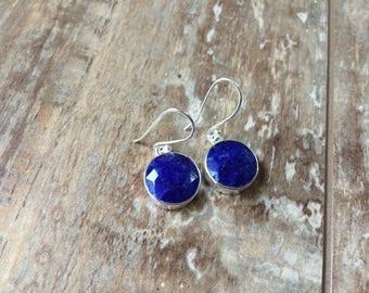 925 Sterling silver Lapis gemstone earrings