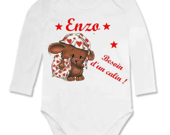 Bodysuit baby needs a hug personalized with name