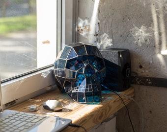 Glass Art / Skull Decor / Stain Glass Art / Lamp Art / Horror Decor /  Horror Art / Home Decor / Glass Skull / Glass Art / Stain Glass Decor