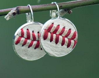 Real Leather Baseball Seam Earrings - leaverback dangle drop - silver, antique brass, antique copper - baseball mom jewelry - mlb fan