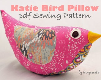 Katie Bird Pillow PDF Sewing Pattern Easy Fast Adorable