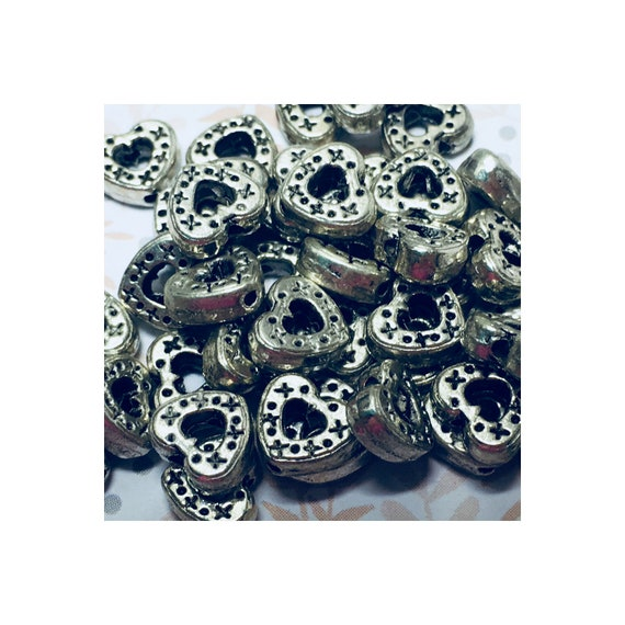 Antique Silver Tone Hollowed Out Dotted Heart Beads, 7 x 8 mm, 3 mm Thick, 6 or 10 beads