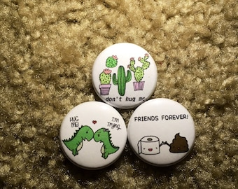 "Friends Forever Dinosaur Couple Cactus Pin Set 1"" set"