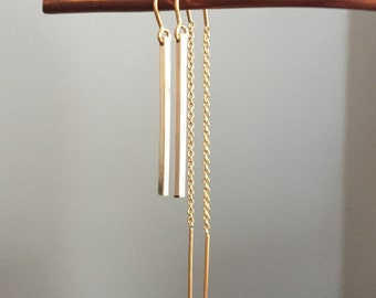 Yellow, Rose or White Gold Square Bar Dangle Threader Earrings with U-bar