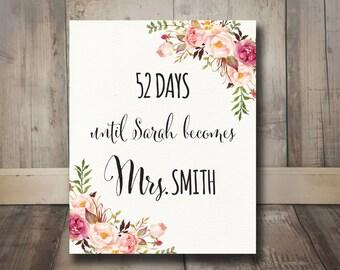 Days Until Mrs Boho Bridal Shower Sign Printable - Bohemian Bridal Shower Days Until Wedding Sign, Boho Blush Pink Watercolor Flowers