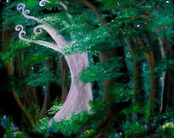 Secret Grove print, image of original artwork, fairy tale, enchanted forest, white tree, swirly tree