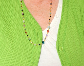 27 inch long Bead Soup Necklace ... One Of A Kind .. A Necklace with a Variety of Beads