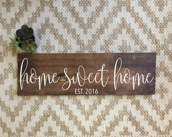 Home Sweet Home Sign | Home Sign | Established Wood Sign | Rustic Sign | Rustic Home Decor | Farmhouse Decor