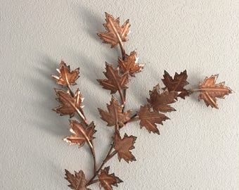 Copper  leaves  Branch of Maple Leaves Home Decor  Metal Wall Art