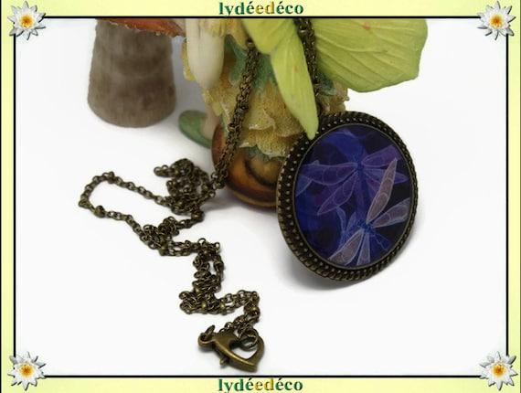 Vintage retro beige purple blue Dragonfly resin and brass necklace, retro bronze 25mm Locket