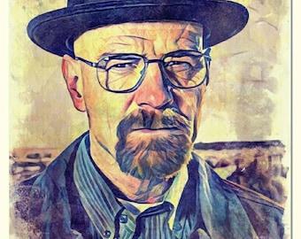 Breaking Bad Digital Art Print | Heisenberg Digital Art Print | Walter White Poster Print | Matte Paper Print | Watercolor Painting