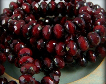 Czech Beads, 7x5mm Rondelle, Czech Glass Beads - Oxblood Pomagranate Garnet Red Glass Beads Rondelle (R7/RJ-0695) - Qty 25