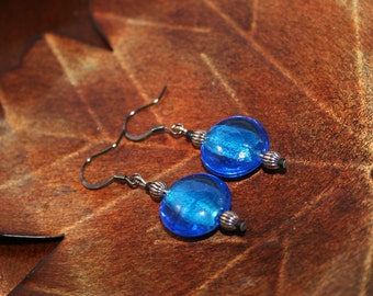 Gunmetal and blue earrings