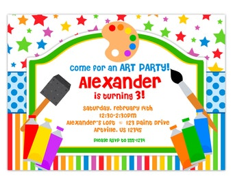 Paiting Art Party Invitation - Rainbow Stripes and Stars, Little Artist, Fun Art Personalized Birthday Party Invite - Digital Printable File