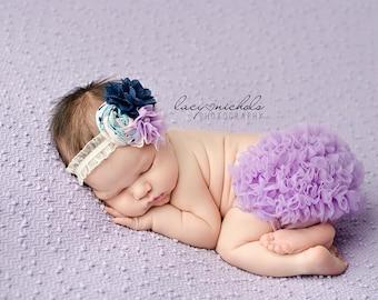 Tonight's Twilight- navy lavender light blue and cream burlap chiffon and rosette headband with lace