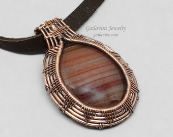 Copper and Agate Wire Wrap Necklace Pendant