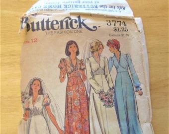 1970s Butterick # 3774, wedding dress, bridesmaid dress, size 12