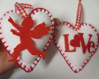 Love and Cupid Heart Valentine Ornaments-Valentine Fabric Ornaments-Valentine Decor-Valentine's Day Decor-Felt Valentine Ornaments
