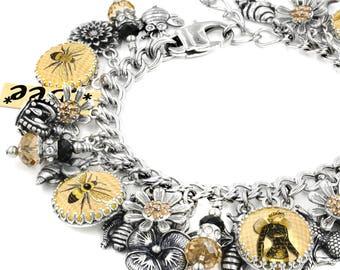 Silver Charm Bracelet - Bee Bracelet - Queen Bee Jewelry