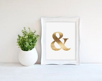 Ampersand Print, Grammar Print, Typography Print, Real Gold Foil Print, Modern Office Print, Home Office Print, Minimal Print, Quote Print