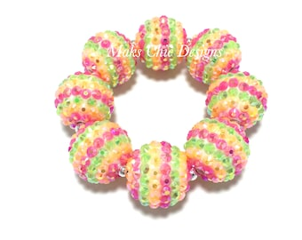 Baby, Toddler, Girls, Teen, Ladies All Bling Neon Striped Sparkle Chunky bracelet - Neon Orange, Green and Pink Bracelet - Tropical bracelet