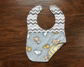 Reversible Bib, Zoo Animals, Chevron, Triple Layer, Gender Neutral, Baby Shower Gift, Drool Bib, Baby, Boutique Bib, Baby Branch Boutique