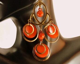 Orange Gold Tone Dangle Earrings Vintage 1970 Earrings Orange Discs Earrings 3 Inch Long Earrings Gold Tone Earrings