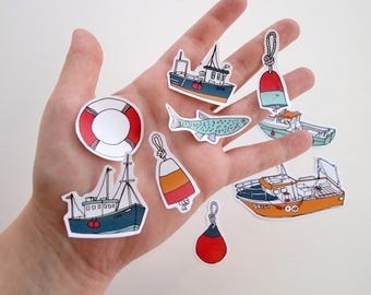Sticker Set - Nautical Seaside Boats  | Journal Art Supplies Crafts