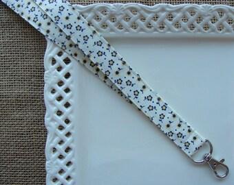 Fabric Lanyard- Blue & Yellow Flowers on Cream
