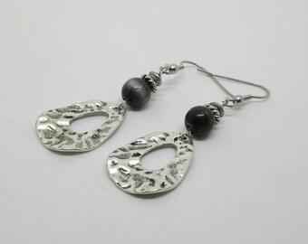 Silver charms, black glass bead earrings
