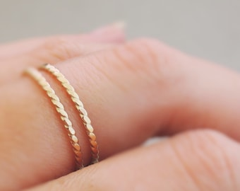 Thin Gold Twist Rings Stacking Rings 2 gold filled stackable rings gold jewellery australia